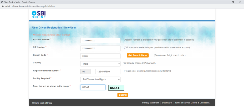 State Bank of India Registration form